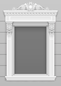 Façade de fenêtre architecturale blanche classique pour le cadre