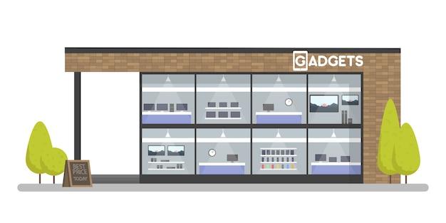 Façade de gadgets et magasin d'électronique. concept de modèle pour le site web, ventes publicitaires