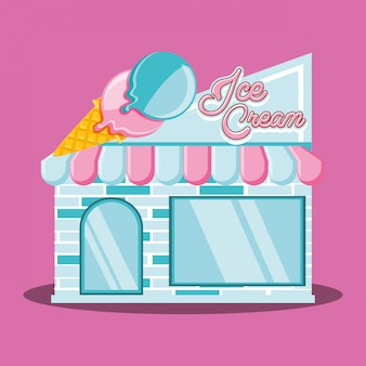 Façade de magasin de crème glacée