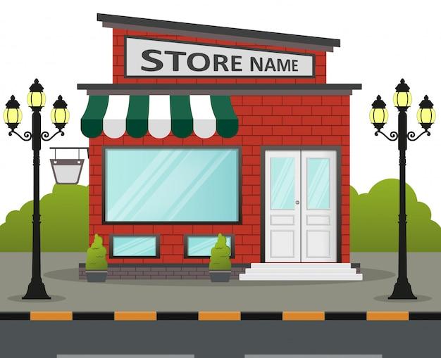 Façade de magasin design plat avec place pour le nom du magasin