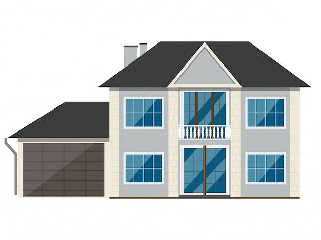 Façade de maison en brique avec balcon.
