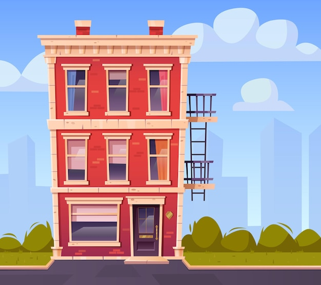 Façade de maison vue de face extérieur de l'immeuble de trois étages en brique rouge