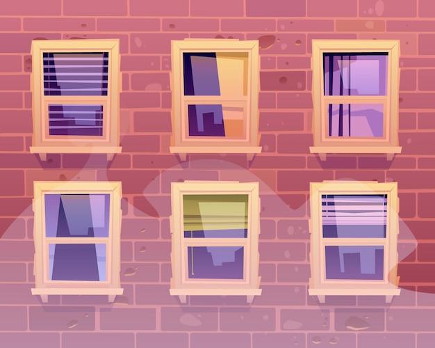 Façade de maison avec vue de face de fenêtres