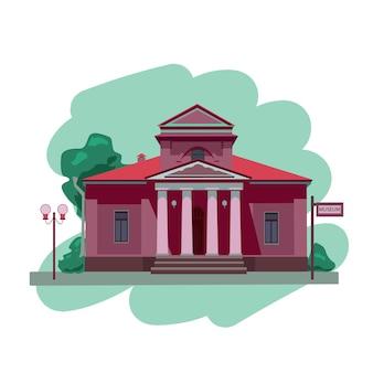 Façade d'un musée ou d'un bâtiment gouvernemental museum illustration isolé sur fond blanc