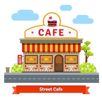 Façade ouverte du bâtiment du café