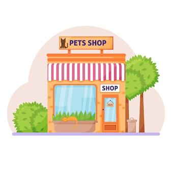 Façade pour animaux de compagnie ou magasin de zoo enseigne avec auvent de chat emblème et symbole dans les fenêtres