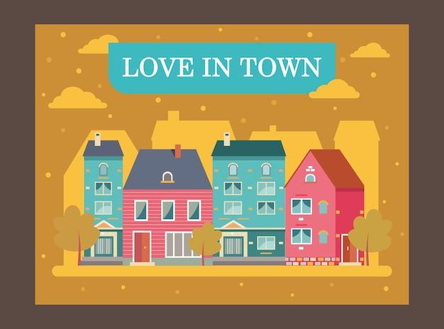 Façades de maisons de ville et texte promotionnel.