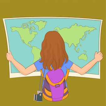 Face arrière d'une fille de voyageur cherchant la bonne direction sur la carte