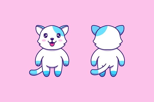 Face avant et arrière de chat mignon