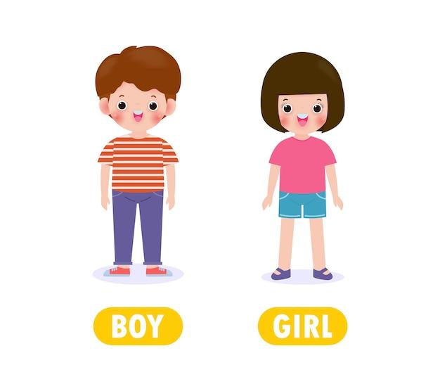 En face de garçon et fille, antonyme de mots pour les enfants avec des personnages de dessins animés heureux jolie fille et garçon