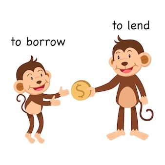 En face pour emprunter et prêter une illustration vectorielle