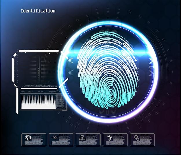 Face à la reconnaissance numérique, id fait face à la numérisation biométrique pour un accès sécurisé futuriste abstrait. numérisation du visage numérique, vérification de la reconnaissance et illustration d'identification