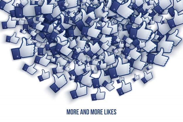 Facebook 3d comme des icônes de la main illustration vectorielle