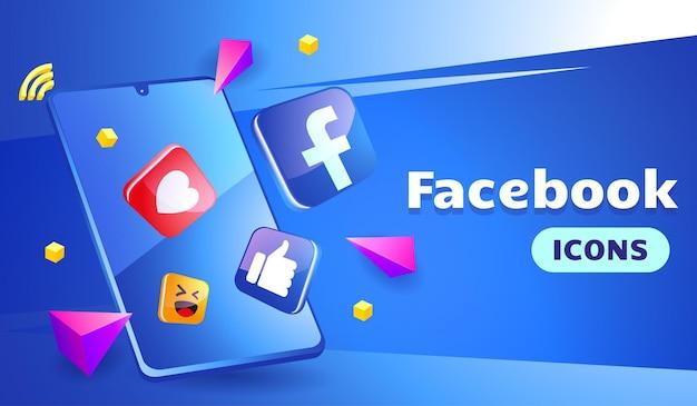 Facebook 3d Contre Sophistiqué Avec Smartphone Vecteur Premium