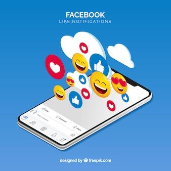 Facebook aime fond avec un mobile