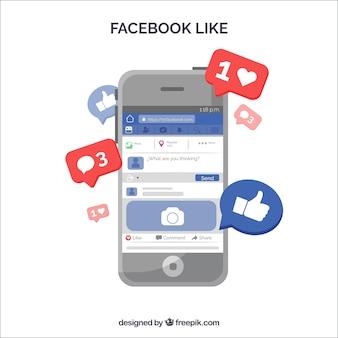 Facebook comme avec un appareil électronique