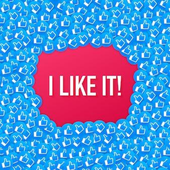 Facebook comme icône de fond de composition. je l'aime. les médias sociaux comme le pouce en l'air