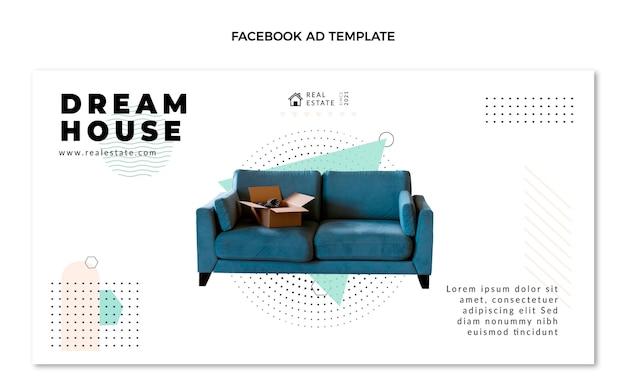 Facebook immobilier plat abstrait géométrique