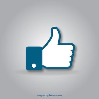 Facebook pouce vers le haut comme arrière-plan dans un style plat