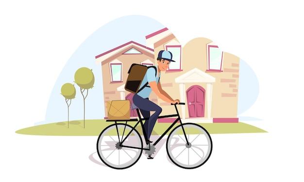 Facteur à vélo messager de facteur de dessin animé sur vélo portant sac à dos caractère isolé