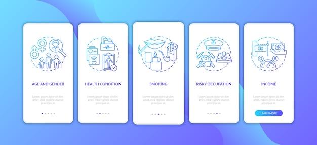 Facteurs de coût d'assurance sur l'écran de la page de l'application mobile d'embarquement avec concepts.