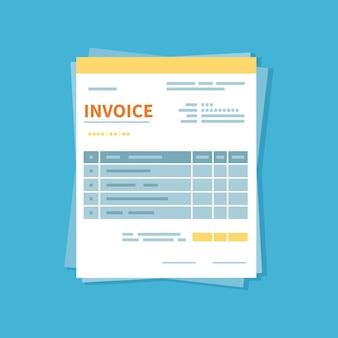 Facture d'achat. forme minimaliste et non remplie du document. paiement et facturation