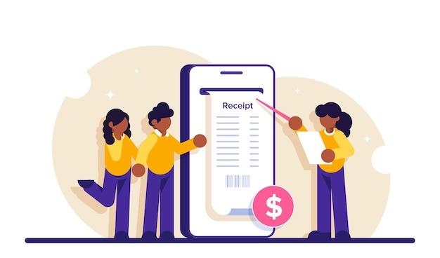 Facture électronique. facture numérique pour les services bancaires par internet mobile.