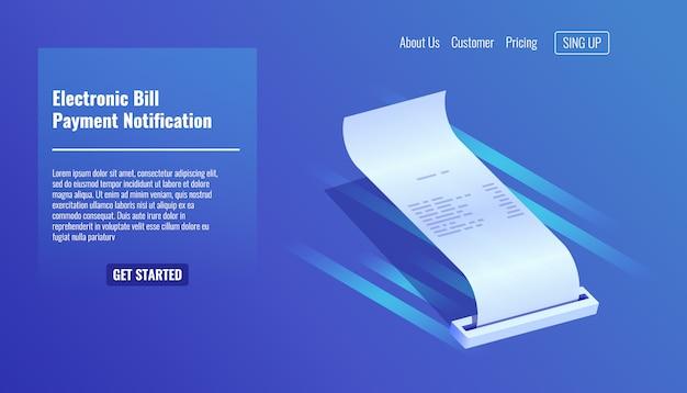 Facture électronique, reçu de paiement, notification de paiement