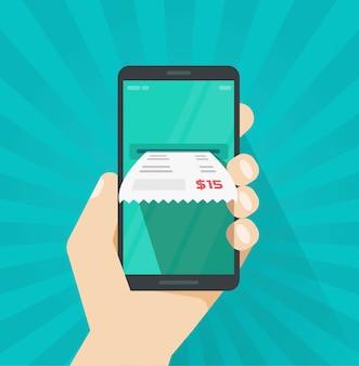 Facture de facture de réception sur téléphone portable ou portable