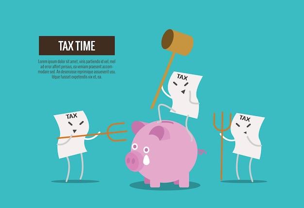 Facture d'impôt tenir marteau sur le point de casser la tirelire