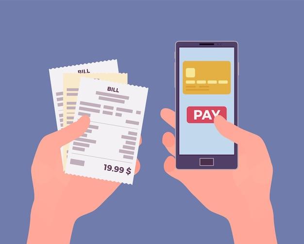 Facture numérique pour le paiement mobile. consommateur tenant dans les mains un smartphone et un chèque pour payer des biens, produits, assistance, service, contenu en ligne