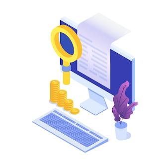 Facture numérique, reçu électronique ou illustration de facture isométrique. shopping en ligne.