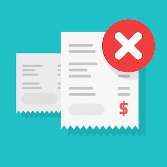 Facture de transaction de paiement refusée ou alerte de transfert d'argent ou avertissement signe d'erreur illustration vectorielle cartoon plat