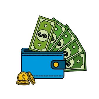 Facture verte dolar portefeuille à l'intérieur avec des pièces de monnaie
