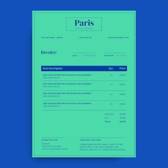 Facture de voyage d'agence moderne et minimaliste