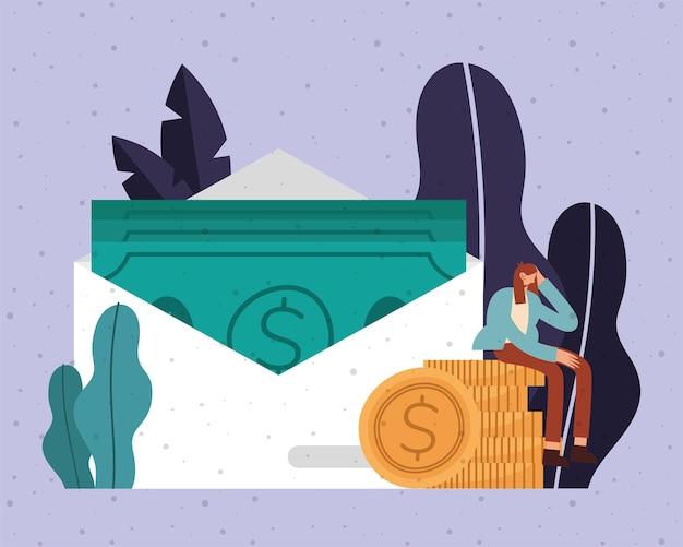 Factures en pièces de monnaie d'enveloppe et dessin animé de femme d'argent financier affaires bancaires commerce et illustration de thème de marché