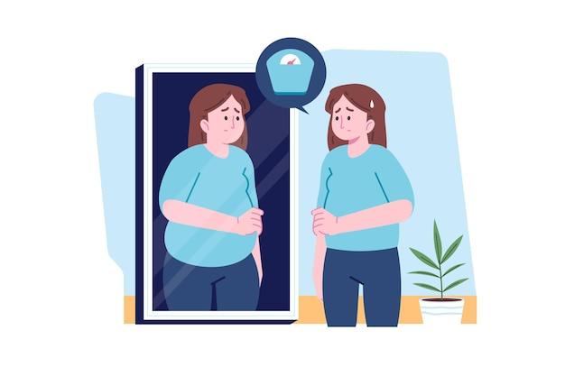Faible estime de soi avec la femme et le miroir