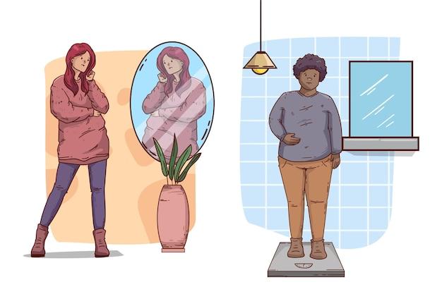Faible estime de soi avec les gens et le miroir