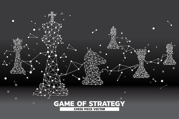 Faible polygone point connecté ligne de vecteur de pièce d'échecs.