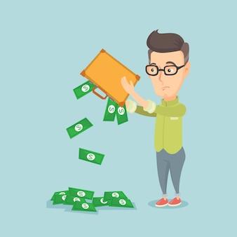 Failli secouant de l'argent de sa mallette.