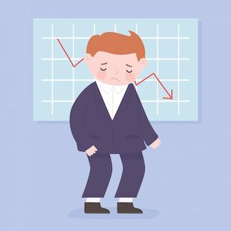 Faillite homme d'affaires statistiques flèche vers le bas processus d'affaires crise financière