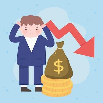 Faillite homme d'affaires tombant flèche vers le bas de la crise financière du processus d'argent