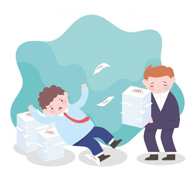Faillite des hommes d'affaires inquiets avec pile de papiers de dette crise financière de l'entreprise