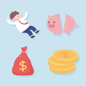 Faillite tirelire cassée homme inquiet sac argent processus d'affaires crise financière