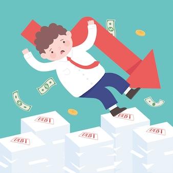 Faillite tombant homme d'affaires sur les factures impayées ou l'effondrement financier de l'entreprise de dette de prêt