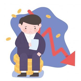 Faillite tombant homme d'affaires flèche argent processus d'affaires crise financière