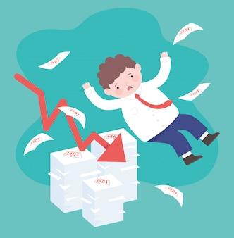 Faillite tombant triste flèche d'homme d'affaires avec des dettes de crise financière d'entreprise