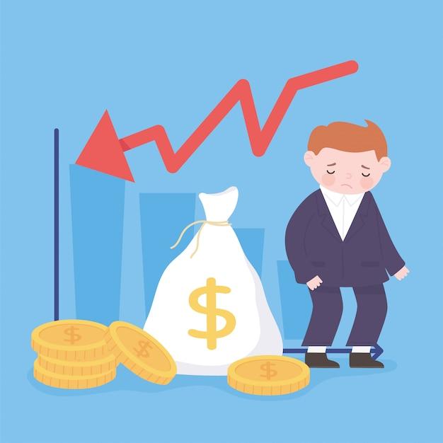 Faillite triste homme d'affaires sac d'argent pièces de monnaie graphique flèche vers le bas crise financière d'entreprise