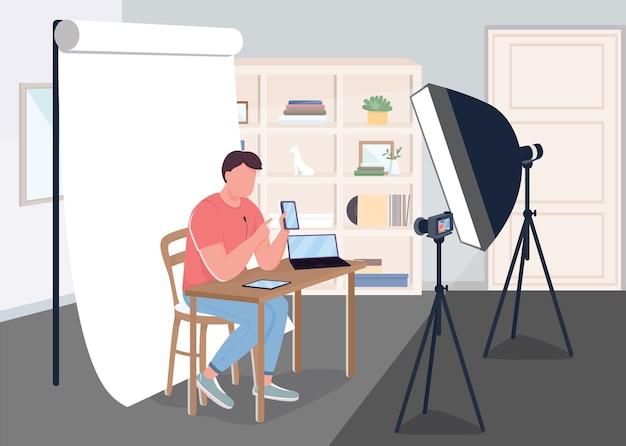 Faire des appareils examinent une illustration plate filmer des vidéos pour un blog vidéo en ligne blogger avec une grande quantité de fans contenu créant des personnages de dessins animés en d avec studio en arrière-plan