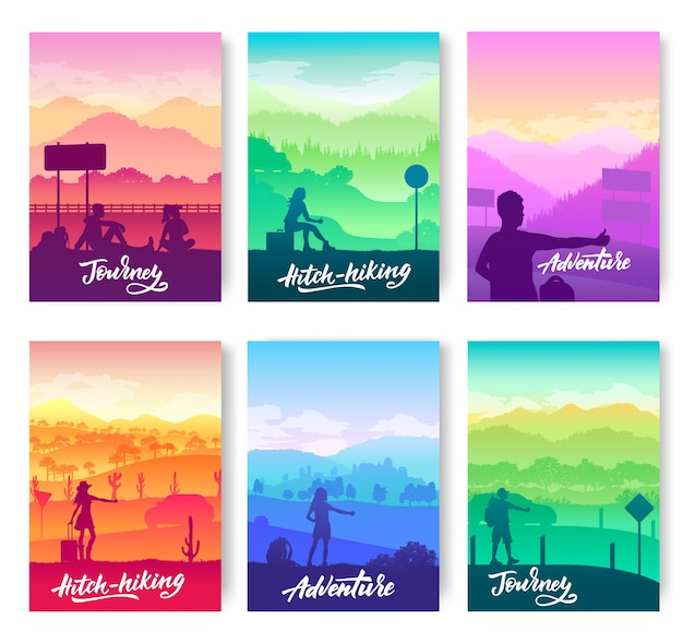 Faire de l'auto-stop à différents endroits sur les flyers du monde